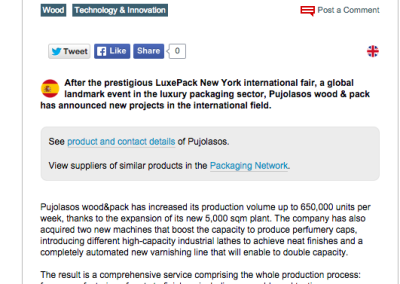 Pujolasos Intesifies its international activity after boosting its productive capacity Packaging Europe 090615