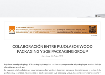 Colaboración entre Pujolasos wood packaging y SGB packaging group News Packaging 030715